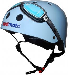 Шлем детский Kiddi Moto с очками, голубой, размер  S, 48-53см