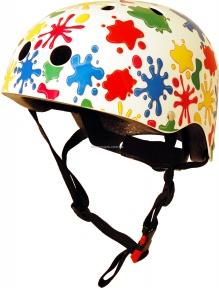 Шлем детский Kiddi Moto цветные кляксы, белый