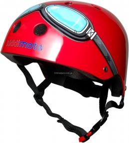Шлем детский Kiddi Moto очки пилота, красный