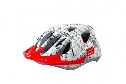 Шлем детский Green Cycle FAST FIVE бело-черный, размер 50-56 см