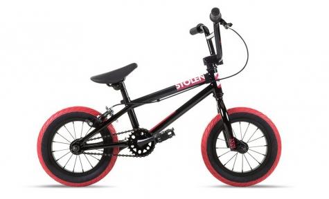 Велосипед BMX 12 Stolen AGENT (2021) BLACK W/ DARK RED TIRES
