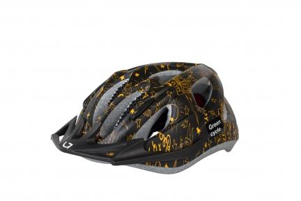 Шлем детский Green Cycle FAST FIVE черно-золотистый, размер 50-56 см