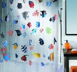 Шторка для ванной (винил) - FISH многоцветный
