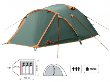 Палатка TOTEM Indi вместимостью 3
