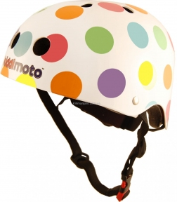 Шлем детский Kiddi Moto белый в цветной горошек, размер S 48-53 см