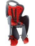 Сиденье задние (детское велокресло) Bellelli MR FOX Сlamp (на багажник) до 22 кг, серое с красной подкладкой