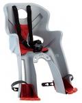 Сиденье переднее (детское велокресло) Bellelli RABBIT Handlefix до 15 кг, серебристое с красной подкладкой