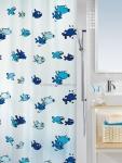 Шторка для ванной (винил) - HUGO голубой