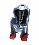 Сиденье задние (детское велокресло) Bellelli MR FOX Standart B-Fix до 22 кг, серебристое с чёрной подкладкой