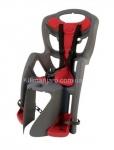 Сиденье задние (детское велокресло) Bellelli PEPE Сlamp (на багажник) до 22 кг, серое с красной подкладкой