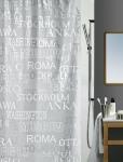 Шторка для ванной (винил) - CITIES серебро