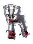 Сиденье переднее (детское велокресло) Bellelli TATOO Handefix до 15 кг, серебристое с красной подкладкой