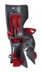 Сиденье заднее (детское велокресло) Bellelli SUMMER Сlamp (на багажник) до 22 кг, серое с красной подкладкой