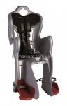 Сиденье заднее (детское велокресло) Bellelli B1 Сlamp (на багажник) до 22 кг, серебристое с чёрной подкладкой